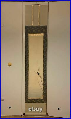 JAPANESE PAINTING HANGING SCROLL FROM JAPAN Kingfisher BIRD VINTAGE ART d582