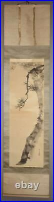 JAPANESE PAINTING HANGING SCROLL FROM JAPAN Pine Old Antique ART e498