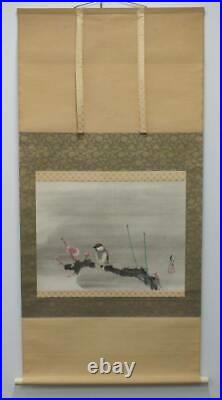 JAPANESE PAINTING HANGING SCROLL FROM JAPAN SPARROW PLUM Vintage PICTURE e461