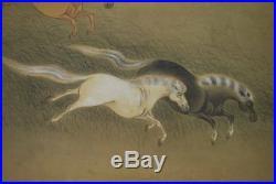 JAPANESE PAINTING HANGING SCROLL Horse ANTIQUE INK ART KAKEJIKU 700h