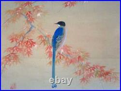 JAPANESE PAINTING HANGING SCROLL JAPAN Autumn Old Art Maple VINTAGE Bird 660p