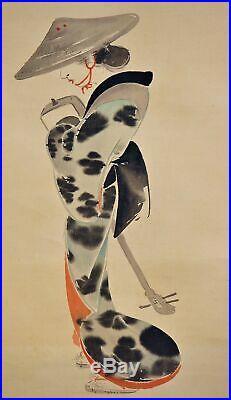 JAPANESE PAINTING HANGING SCROLL JAPAN BEAUTY GEISHA LADY ANTIQUE KIMONO c175