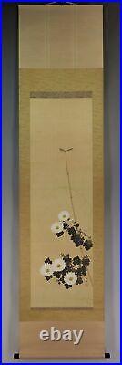 JAPANESE PAINTING HANGING SCROLL JAPAN Dragonfly Chrysanthemum Antique 762p