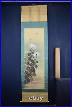 JAPANESE PAINTING HANGING SCROLL JAPAN Dragonfly Chrysanthemum Antique 919p