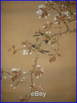 JAPANESE PAINTING HANGING SCROLL JAPAN FLOWER BIRD ORIGINAL ANTIQUE ART OLD 751n