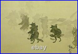 JAPANESE PAINTING HANGING SCROLL JAPAN Fox procession PRINT OLD ART e668