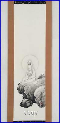 JAPANESE PAINTING HANGING SCROLL JAPAN Kannon Bodhisattva Goddess Antique 286p