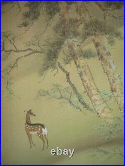 JAPANESE PAINTING HANGING SCROLL JAPAN LANDSCAPE Ancient architecture ART 739p