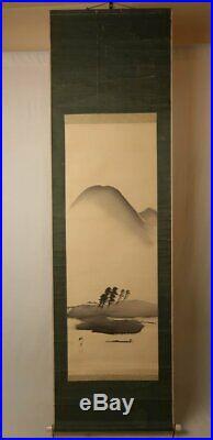 JAPANESE PAINTING HANGING SCROLL JAPAN LANDSCAPE INK OLD Paint ART d484