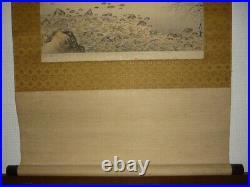 JAPANESE PAINTING HANGING SCROLL JAPAN LANDSCAPE Ink Antique OLD ART e437