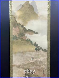 JAPANESE PAINTING HANGING SCROLL JAPAN LANDSCAPE VINTAGE OLD ART e304