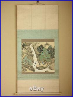 JAPANESE PAINTING HANGING SCROLL JAPAN LANDSCAPE VINTAGE Old Art PICTURE 586n
