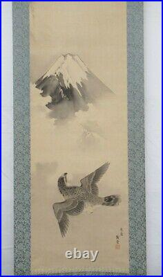 JAPANESE PAINTING HANGING SCROLL JAPAN Mt. Fuji HAWK Auspicious VINTAGE e524