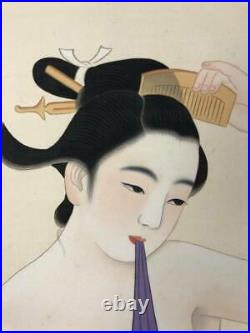 JAPANESE PAINTING HANGING SCROLL JAPAN Nude BEAUTY ANTIQUE PICTURE bath 219q