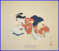 JAPANESE PAINTING HANGING SCROLL JAPAN Old Art ANTIQUE Learn BEAUTY Japan e716