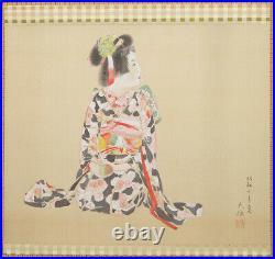 JAPANESE PAINTING HANGING SCROLL JAPAN Old Art Geisha ANTIQUE BEAUTY Japan e409