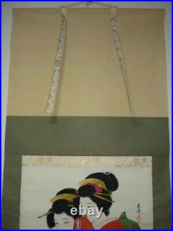 JAPANESE PAINTING HANGING SCROLL JAPAN Old Art Geisha VINTAGE BEAUTY Japan 627p