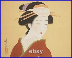 JAPANESE PAINTING HANGING SCROLL JAPAN Old Art Geisha VINTAGE BEAUTY Japan e259