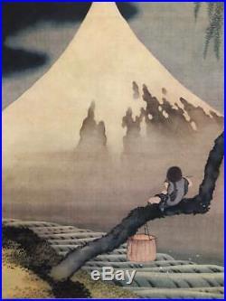 JAPANESE PAINTING HANGING SCROLL JAPAN Print Mt. Fuji MOUNTAIN Hokusai 094m