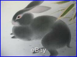 JAPANESE PAINTING HANGING SCROLL JAPAN Rabbit ORIGINAL ANTIQUE VINTAGE ART 432n