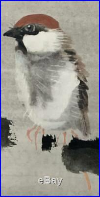 JAPANESE PAINTING HANGING SCROLL JAPAN SPARROW PLUM ANTIQUE PICTURE VINTAGE 202n