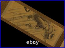 JAPANESE PAINTING HANGING SCROLL JAPAN TIGER ANTIQUE ORIGINAL PICTURE OLD 680n