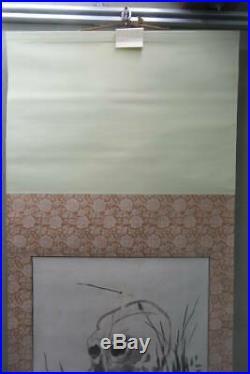 JAPANESE PAINTING HANGING SCROLL Japan Skull Bone ANTIQUE VINTAGE ORIGINAL d322