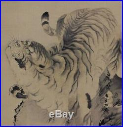 JAPANESE PAINTING HANGING SCROLL Japan TIGER ANTIQUE OLD ART PICTURE AGED 023m