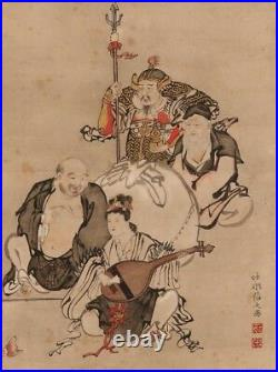 JAPANESE PAINTING HANGING SCROLL Japanese Good Luck 7 god ANTIQUE Old d111