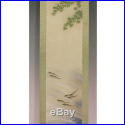 JAPANESE PAINTING HANGING SCROLL VINTAGE PICTURE River fish AYU ORIGINAL 659i