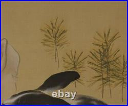 JAPANESE PAINTING HANGING SCROLL White RABBIT ART JAPAN PICTURE ANTIQUE d864