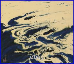 JAPANESE PAINTING LANDSCAPE River HANGING SCROLL OLD JAPAN Vintage e170