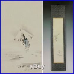 JAPANESE PAINTING Original LANDSCAPE Snow HANGING SCROLL OLD JAPAN Antique 754h