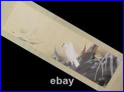 JAPANESE PAINTING WHITE HAWK HANGING SCROLL OLD Antique Ink Picture Japan 146h