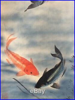 Japan Japanese Hanging Scroll / Koi Carp Painting on Silk E113