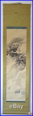 Japanese Antique Hanging Scroll Art Silk Painting Dragon Sined Japan Original