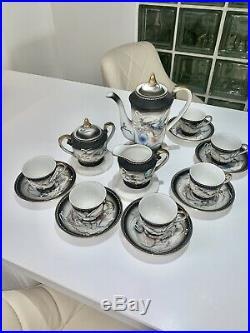 Japanese Hand Painted China / Dragon Tea Set Moriage Ware Six Setting