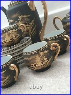 Japanese Hand Painted Koshida Rare Antique Tea Set Gold And Black
