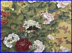 Japanese Hanging Scroll Kakejiku So Many Flower Hand Paint Silk Antique n439