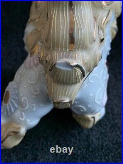 Japanese Kutani Foo Dogs Hand Painted Porcelain Statues Pair