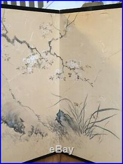 Japanese Painting Plum Trees on Folding Screen Byoubu Vintage Asian Art