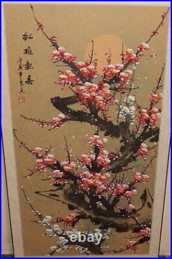 Japanese Red Cherry Blossoms Huge Original Watercolor On Paper Painting