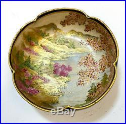 Japanese Satsuma Porcelain Lobed Bowl, Hand Painted Cherry Blossoms c1930