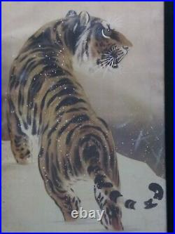 Japanese Scroll Art Painting on Paper Tiger In Snow -Signed Framed Meiji
