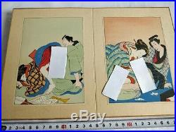 Japanese Shunga Paper 14 picture seat set UKIYOE Erotic woodblock print-b829