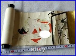 Japanese Shunga Paper picture on scroll UKIYOE Erotic woodblock print-c0227