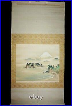 Japanese Silk Scroll Painting w Mt Fuji & Landscape Motif signed Hamada  #6