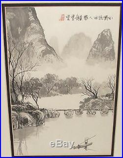 Japanese Watercolor Landscape Bridge River Boat Painting Signed
