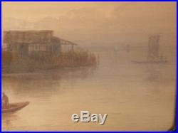 Japanese Watercolor Painting Lake Scene By G. Yokouchi