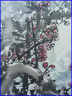 Japanese Watercolour Painting Cherry Blossom Signed